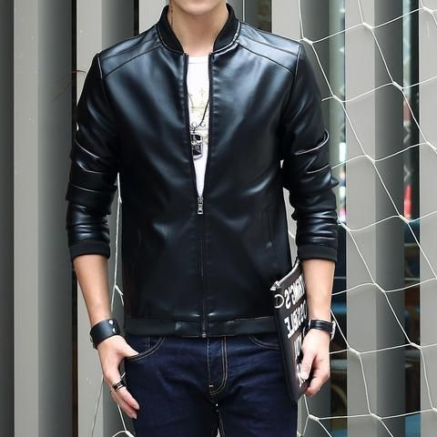 4599f8e3ae7 Fashion Men s Winter Leather Jackets Faux Jacket Korean Stylish Slim Fit Coats  Men Moto Skull Suede Jacket For Men