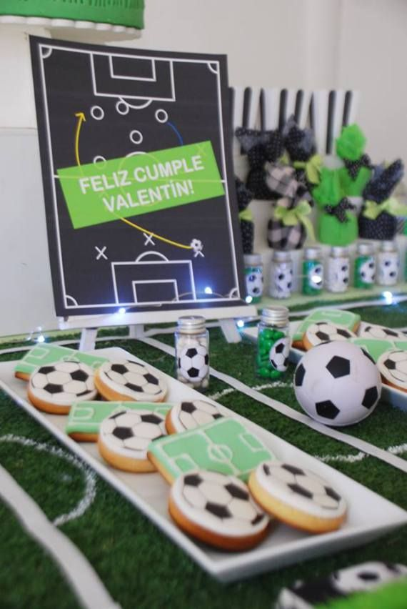 Soccer Themed Birthday Celebration Field Decorations Babyshowerideas4u Birthdayparty