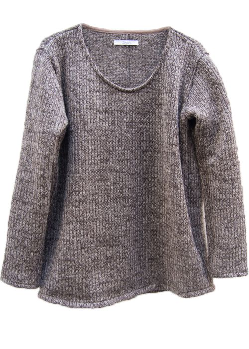 zero - Circular Cut Sliver Pullover Knit - Brown - 21,000JPY