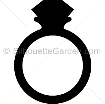 Diamond ring silhouette clip art. Download free versions of the image in EPS, JPG, PDF, PNG, and SVG formats at http://silhouettegarden.com/download/diamond-ring-silhouette/
