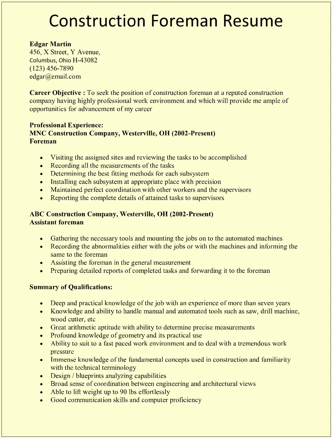 Resume Template for Construction Inspirational