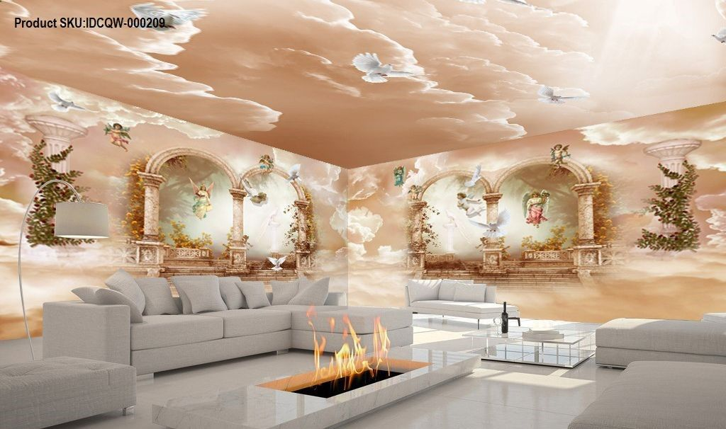 3D Classic Angel Arch Polar Heaven Entire Living Room Wallpaper Wall