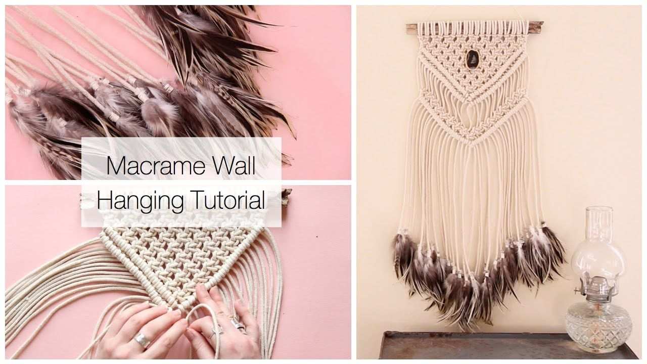 How To Make A Macrame Wall Hanging Dreamcatcher With Feathers Tutorial Youtube Macrame Wall Hanging Tutorial Macrame Wall Hanging Macrame Wall Hanging Diy