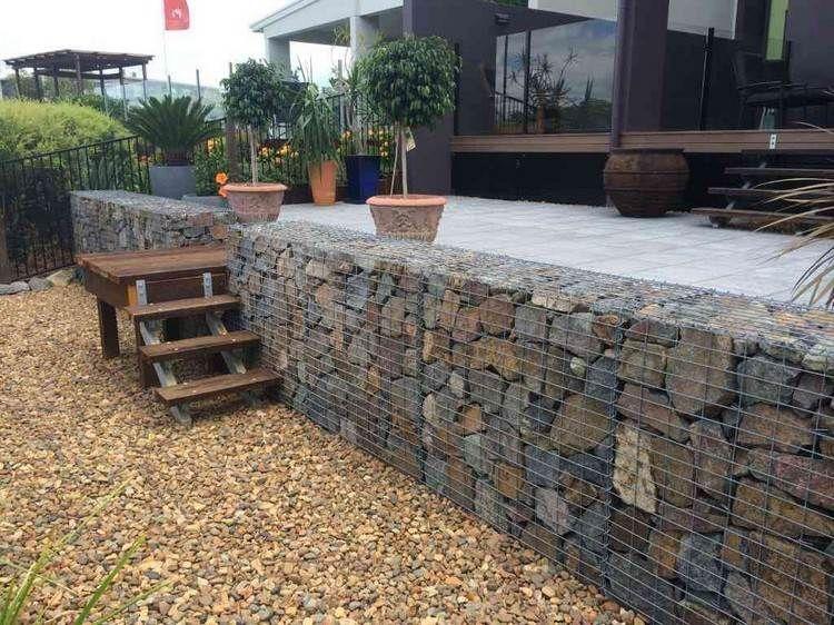 Favorit Gabionen Stützmauer für die Terrasse | Terrasse | Gartengestaltung WO36