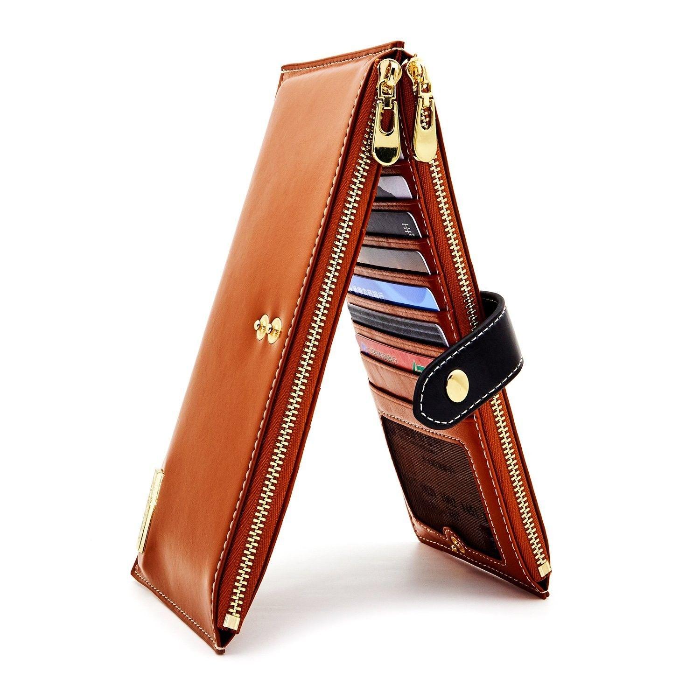 Women Genuine Leather Wallet RFID Blocking Credit Card Holder Handbag Bi-fold Or