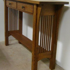 New Solid Quarter Sawn White Oak Mission Style Sofa Table Hall