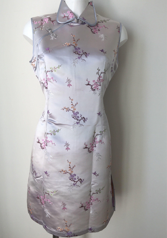 Silver satin Dress Cheongsam Brocade Cherry blossoms Traditional ...