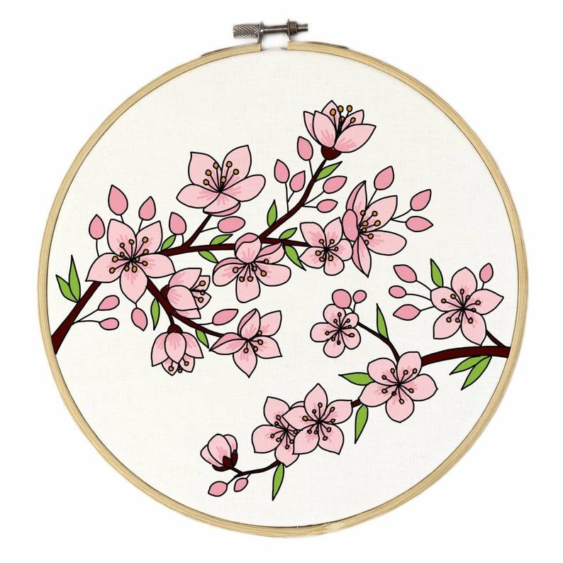 Cherry Blossom Hand Embroidery Pattern Digital Download Pdf Contains Detailed Tutorials For Beginners In 2021 Embroidery Patterns Hand Embroidery Pattern Hand Embroidery
