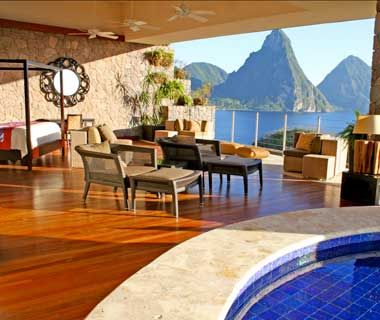 Jade Mountain, St. Lucia, ranked one of the best hotels in the world. That's not a bad view out the window, either.