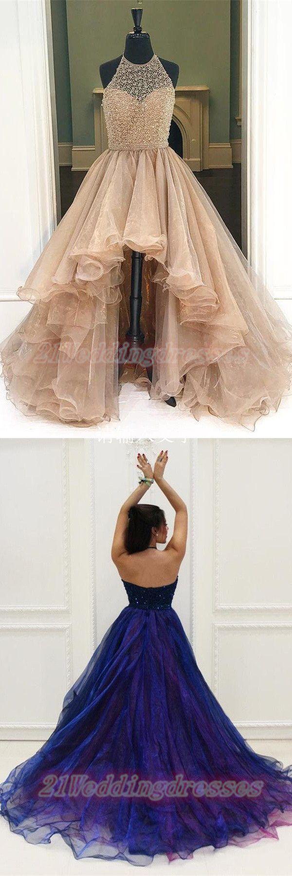 Sparkly gorgeous halter beaded long prom dresses for teensmodest