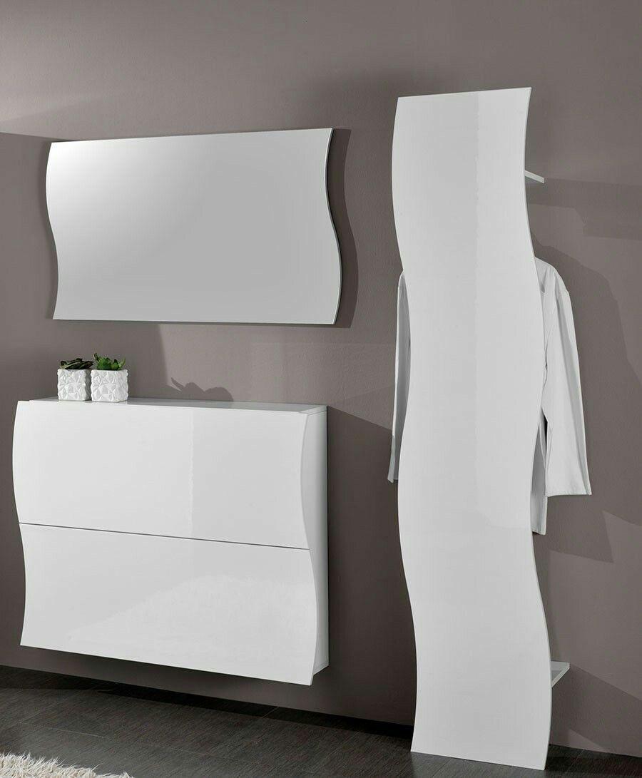 Meuble D Entree Miroir Blanc Laque Design Swell 479 99 Dimensions Meuble A Chaussures Avec Images Meuble Entree Idees De Decoration Interieure Meuble Rangement