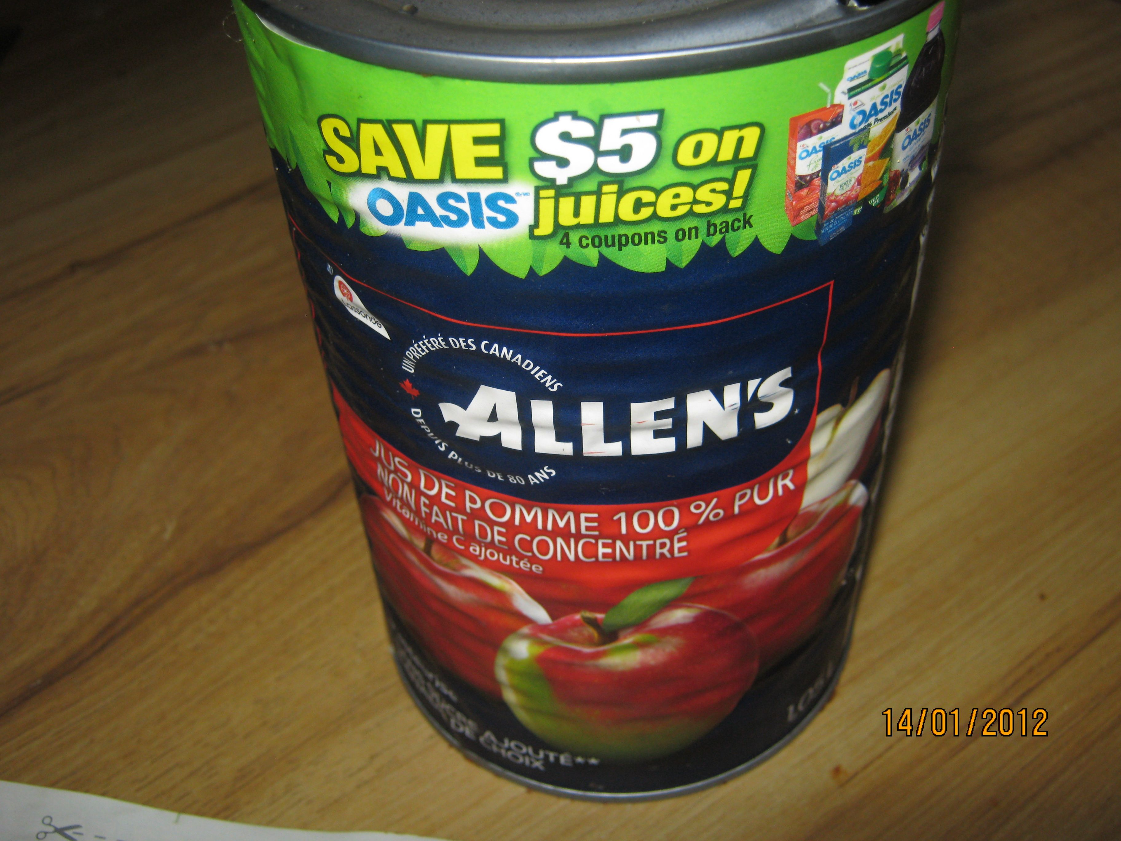 Allens apple juice coupons found for oasis products
