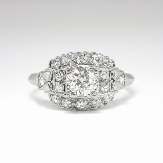 This Is A Blinding 1930s Glitter Bomb At An Affordable Value Only Fro Vintage Engagement Rings Art Deco Vintage Diamond Ring Art Deco Art Deco Engagement Ring