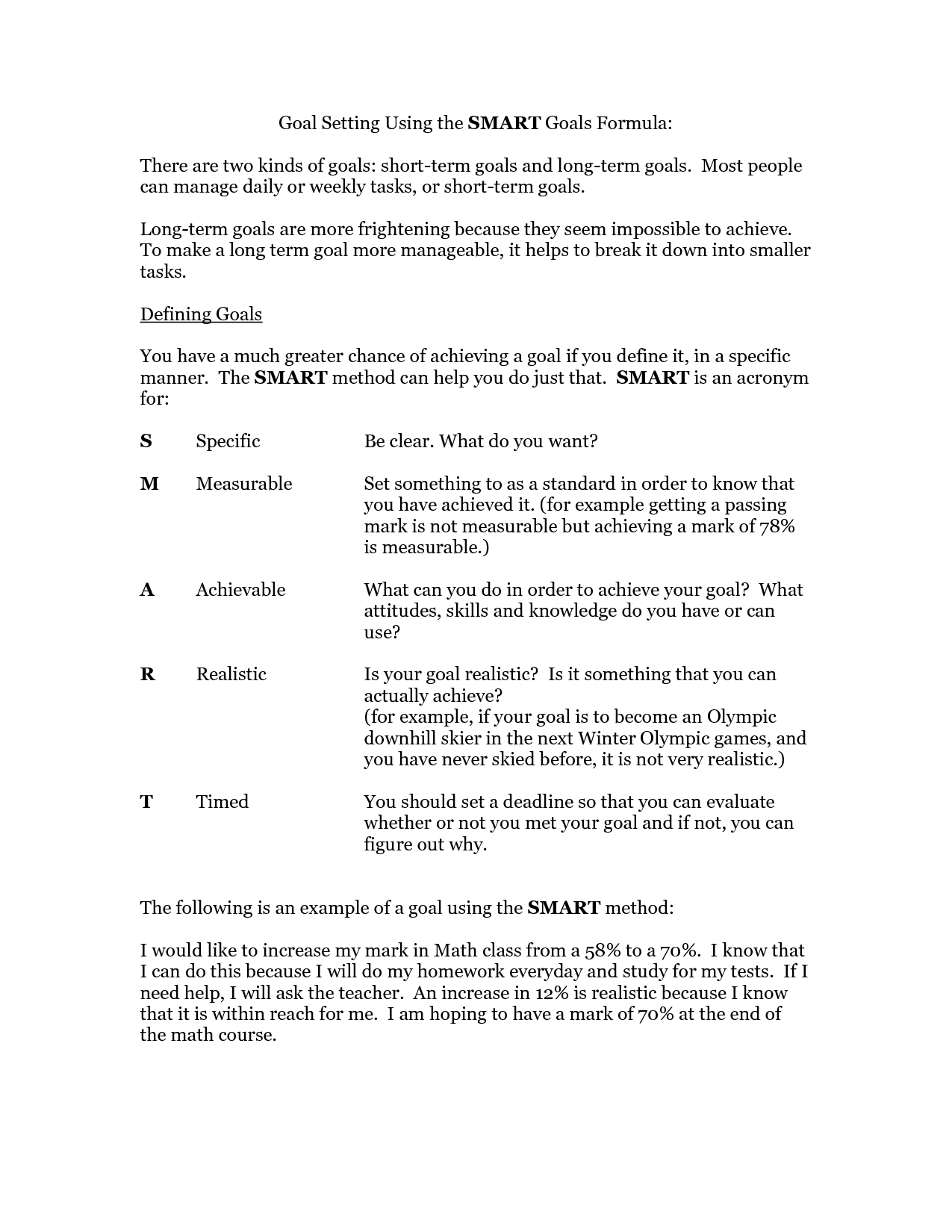Smart Goals Worksheet Goal Setting Using The Smart Goals