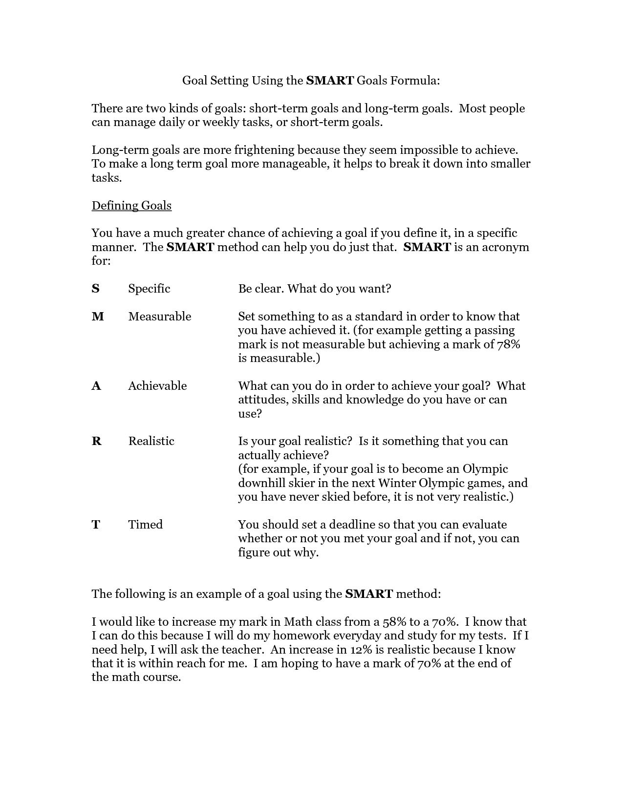 Smart Goals Worksheet  Goal Setting Using The Smart Goals Formula