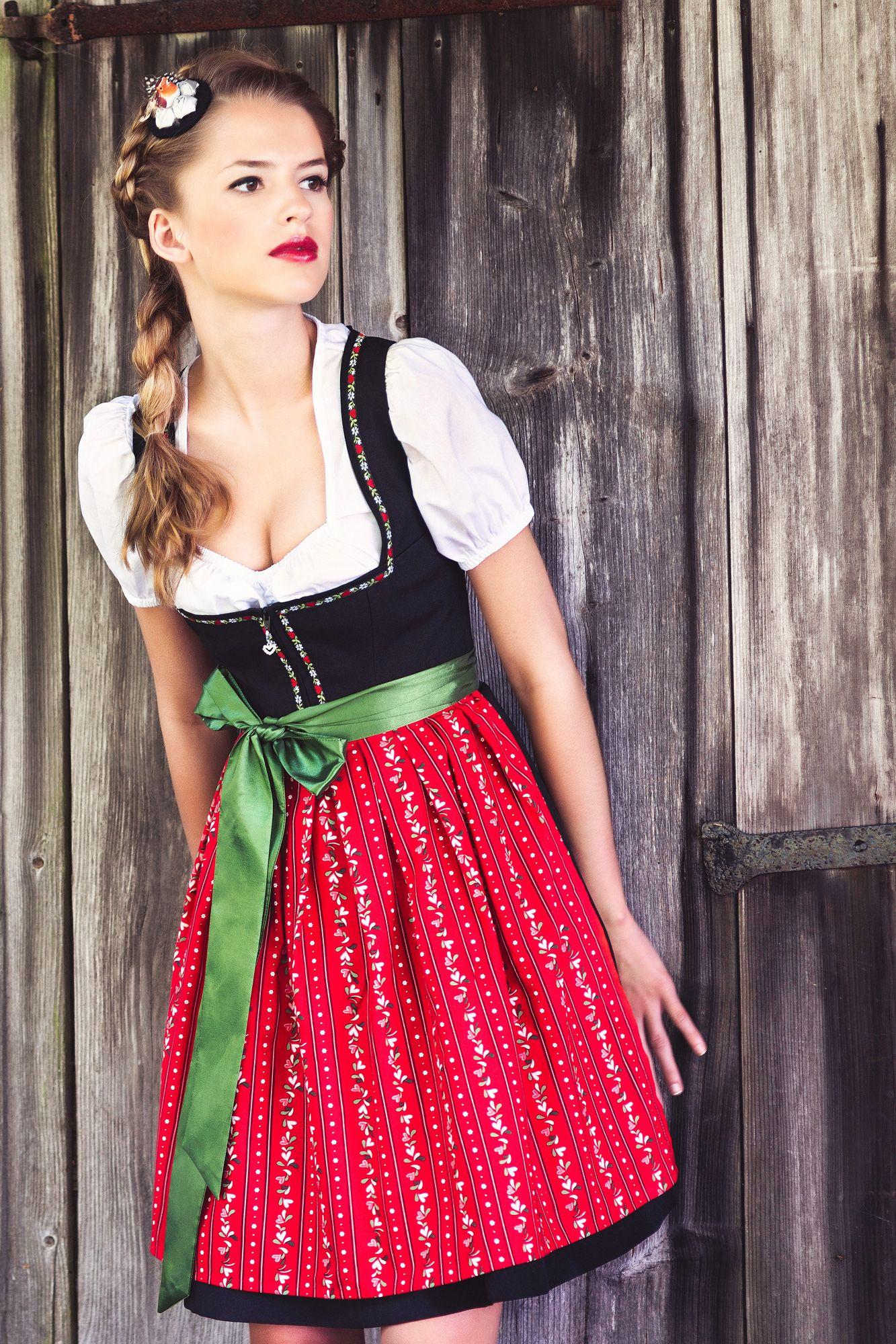 Dirndl Emma Sweet mini red dirndl with red Herzchenschürze - Dirndl.com