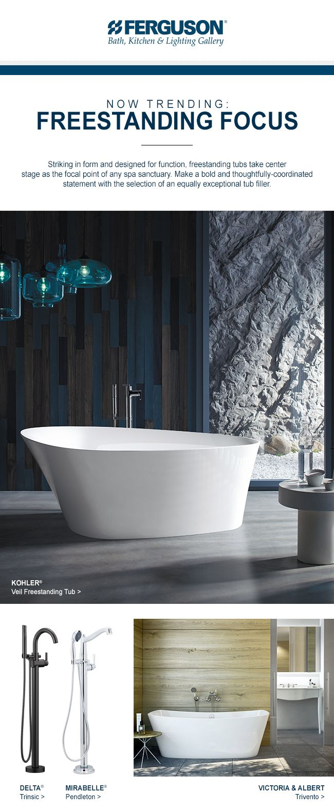 Striking In Form And Designed For Function, Modern Freestanding Tubs Take  Center Stage As The