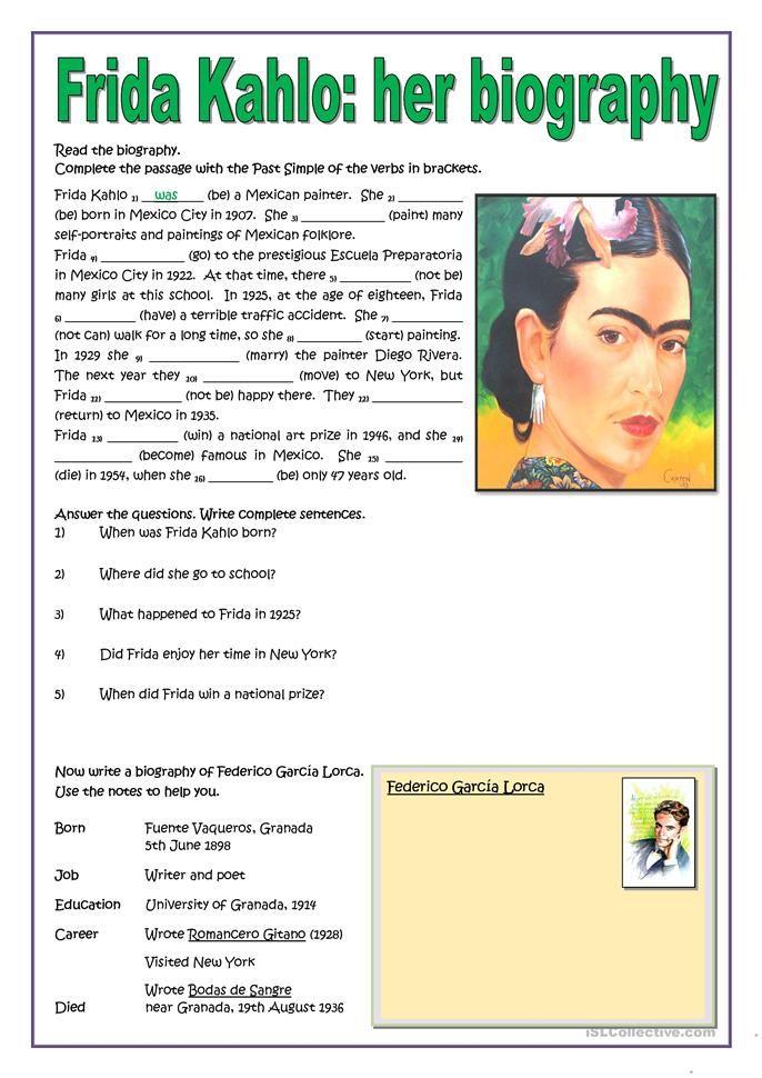 Frida Kahlo Her Biography Autobiografia En Ingles Biografia De Frida Kahlo Material Escolar En Ingles