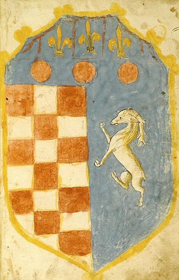 """Per fesse, the base per pale, in chief azure, three fleurs-de-lys or above three torteaux, the dexter base chequy gules and argent, the sinister base azure, a stag rampant argent [Lambel forgotten] (f°98r) -- """"Literalis expositio super Apocalypsim"""", by Fredericus de Venetiis, Urbino (Italy), October 8, 1456. [Morgan Ms B.20]"""
