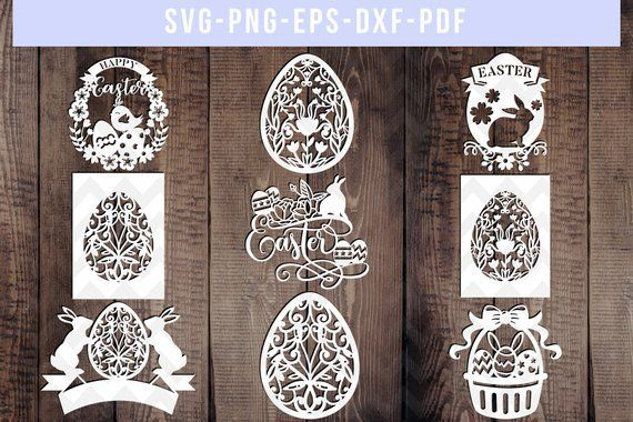 Photo of bundle of 9 easter papercut templates, easter cut file, easter decor, easter egg svg, paper cut art, easter bunny wall art, dxf, pdf png eps