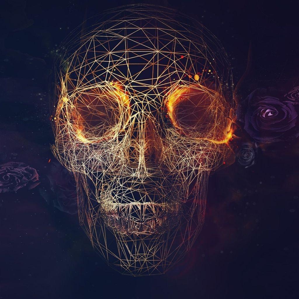 Cool Iphone 4 Wallpapers: Digital Skull Artwork #iPad #Air #Wallpaper