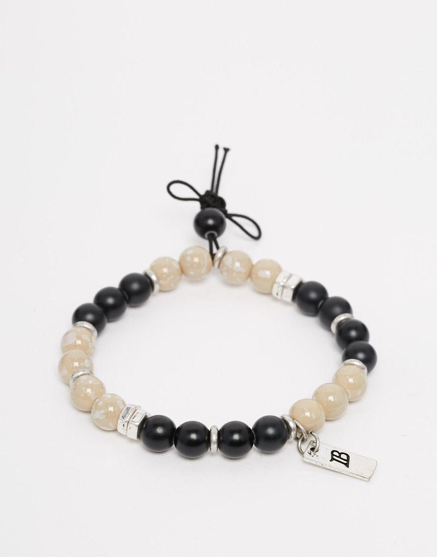 Armband von ICON BRAND zum Überziehen Perlenarmband silberfarbene ...