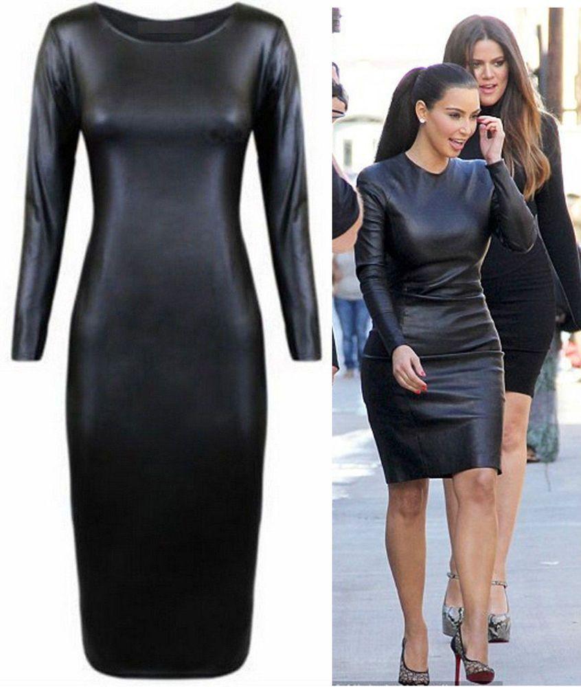 Ladies celebrity black wetlook stretch bodycon midi dress uk plus ...