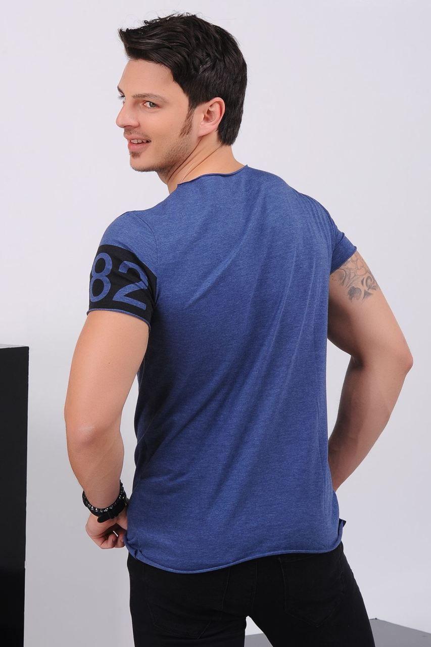 Kol Baskili Genis Yaka Mavi T Shirt Giyim Indirim Kampanya Bayan Erkek Bluz Gomlek Trenckot Hirka Etek Yelek Mont Kase Erkek Tisort Tisort Moda