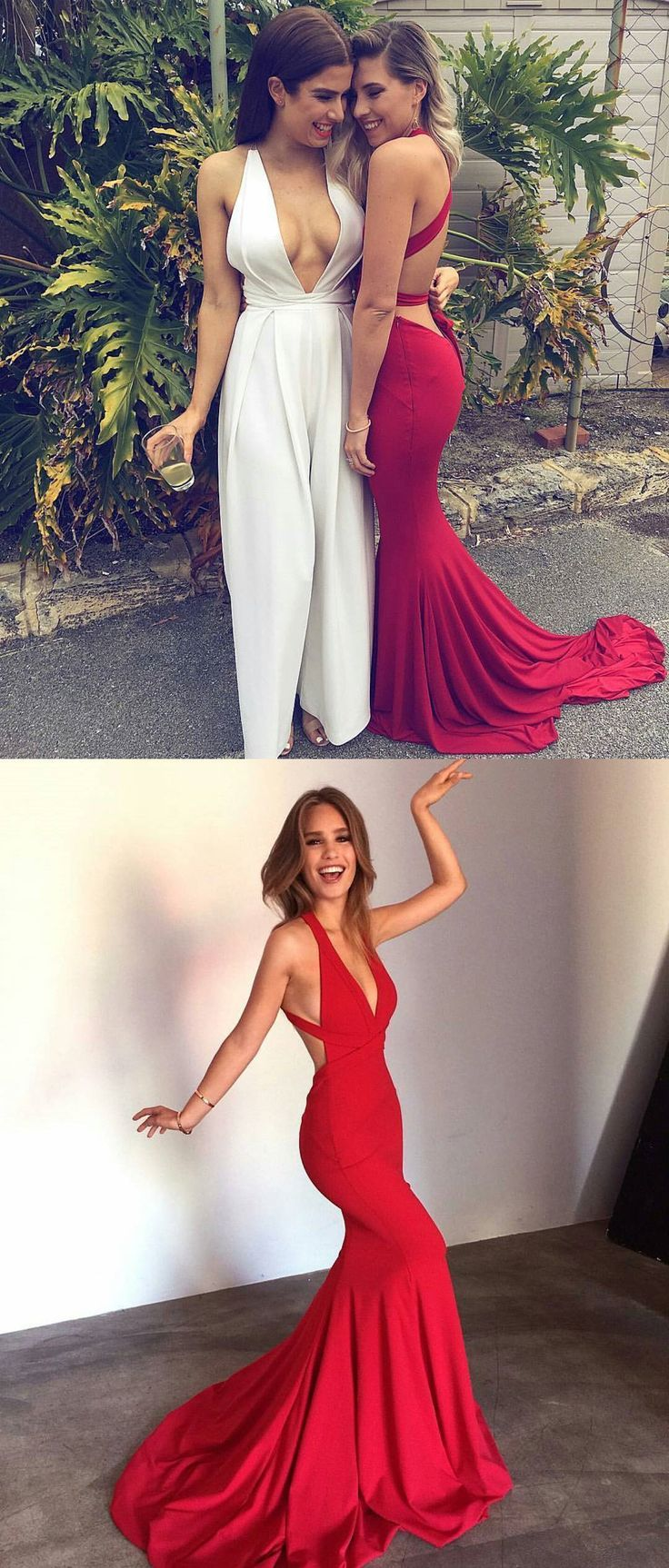 Special Red Mermaid Long Prom Dress with Train from dreamdressy