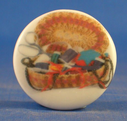 """1"""" PORCELAIN CHINA BUTTON --  SEWING BASKET WITH SCISSORS"""