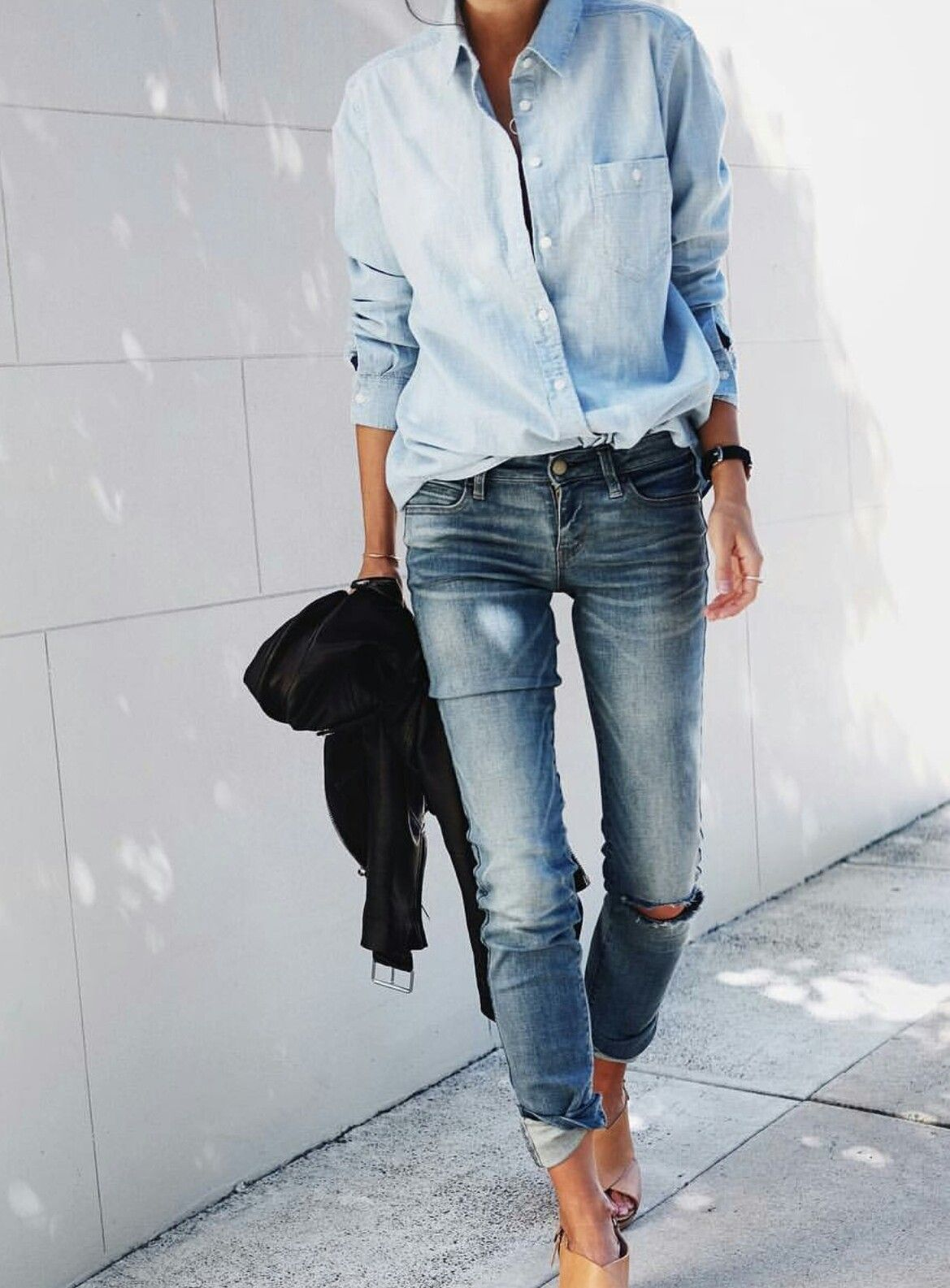 bafa2a3bd3e2 c a s u a l   Denim Shirt Outfit Summer