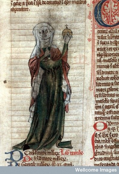 Pen and wash drawing showing a standing female healer, perhaps of Trotula, clothed in red and green with a white headdress, holding up a urine flask to which she points with her right hand. Pen and wash Early 14th century From: Miscellanea medica XVIII Published:   Early 14th century Folio 65 recto (=33 recto)
