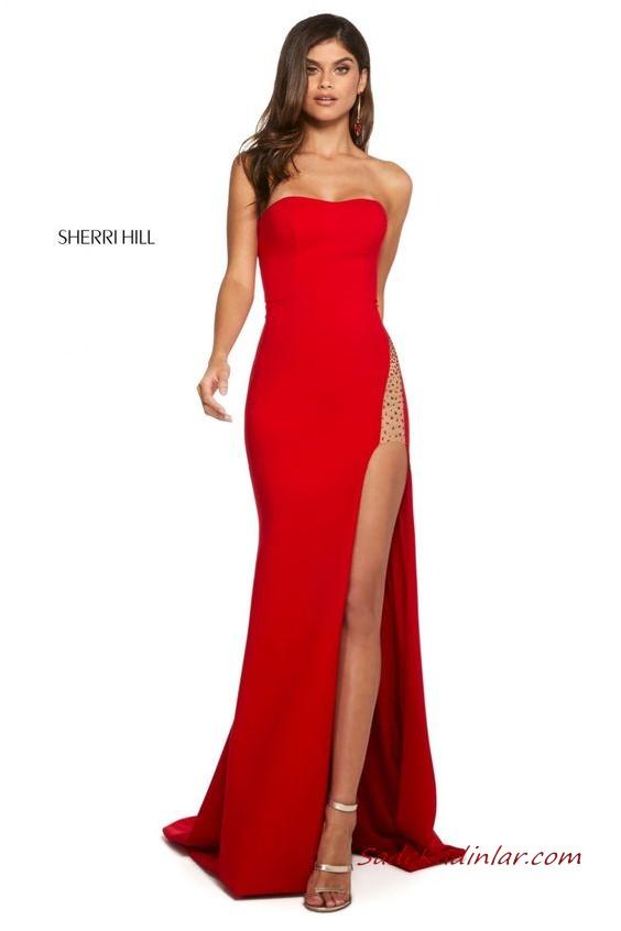 2020 Sherri Hill Kirmizi Abiye Elbise Modelleri Kirmizi Balik Uzun Halter Yaka Kuyruklu 2020 Elbise Modelleri The Dress Elbise