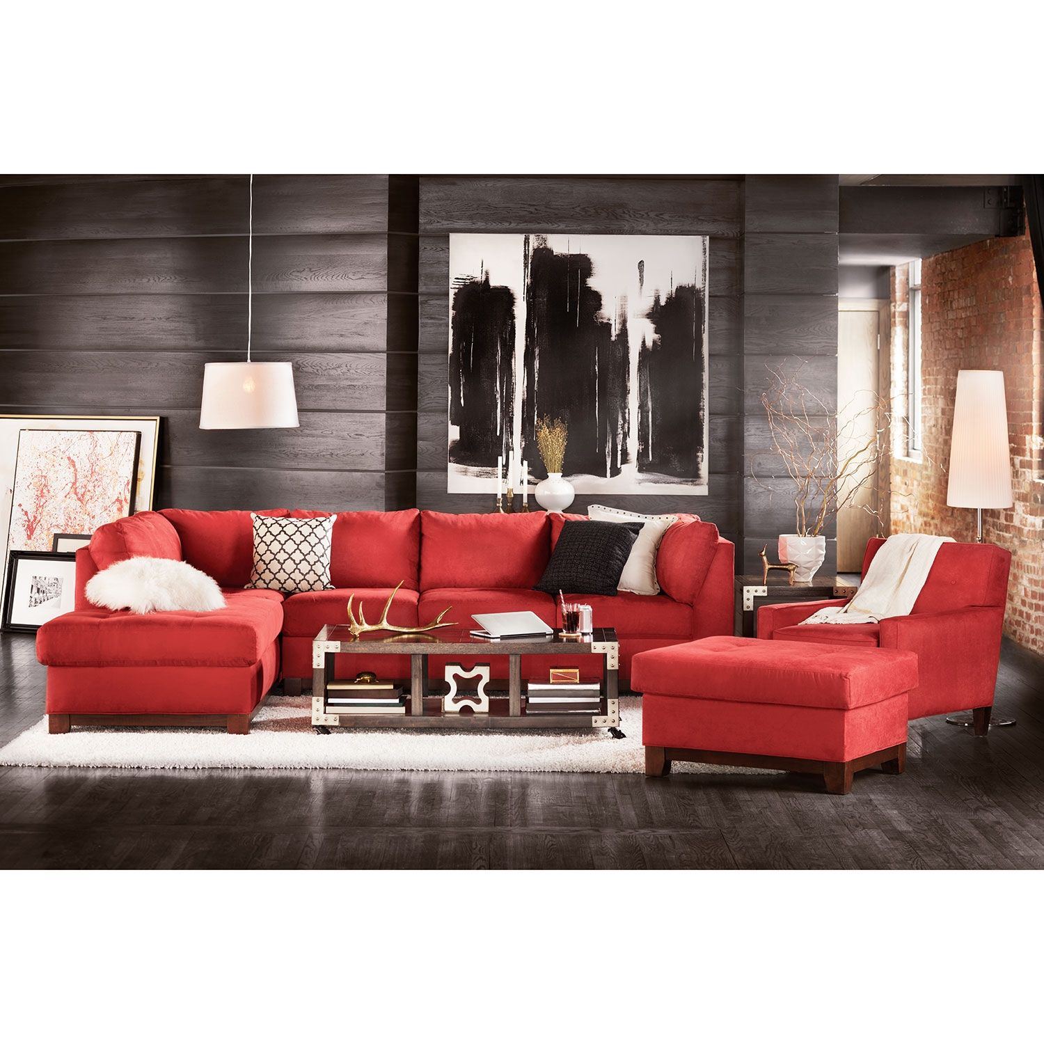 Soho 2 Piece Sectional With Chaise And Ottoman In 2019
