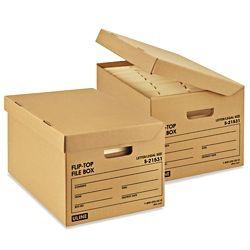 Flip Top Storage File Boxes 15 X 12 X 10 Kraft S 21531 File Boxes Storage Kraft