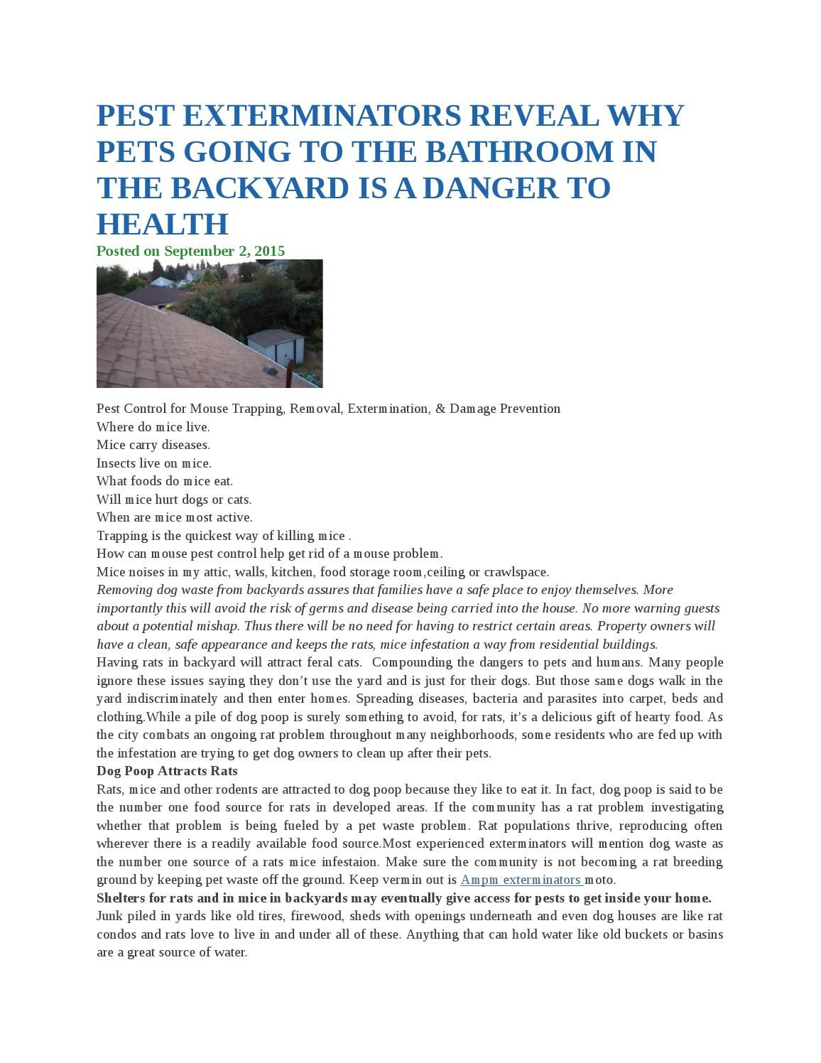 pest exterminators reveal why pets going to the bathroom in the