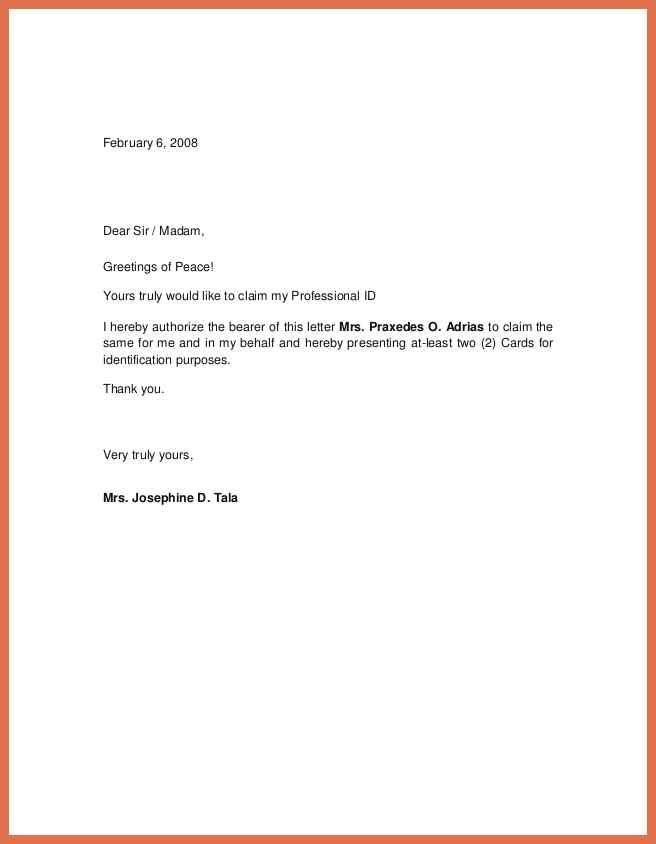 Authorization Letter Template Sample Consent For Work Writing