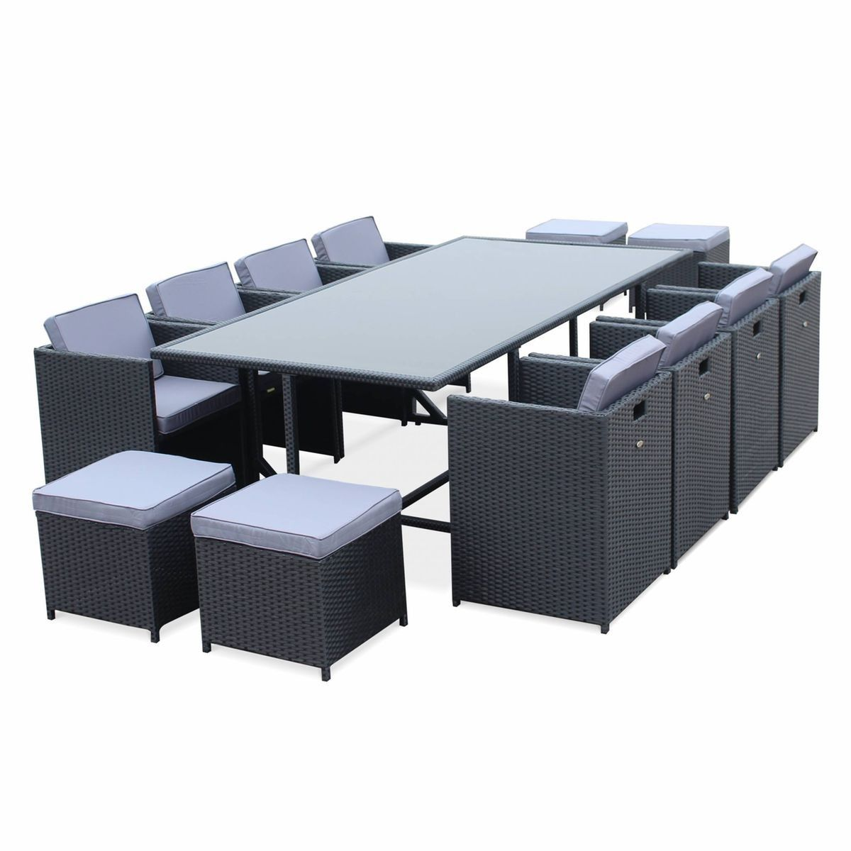 Salon De Jardin Vasto Noir Table En Resine Tressee 8 A 12 Places