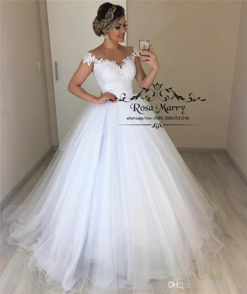 Vintage Lace Cap Sleeves Tulle Princess Wedding Dresses: Princess Plus Size Country Beach Wedding Dresses 2019 A