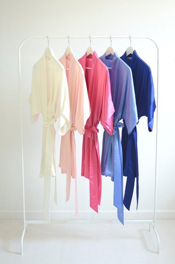 f514f69b3a Samantha Silk Kimono Bridal Robe Bridesmaids Robes in Cool Blues   Pinks -  ivory rose quartz pink ho