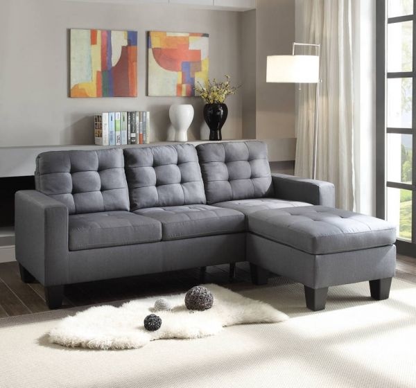 acme furniture earsom gray reversible ottoman sectional sofa rh pinterest com