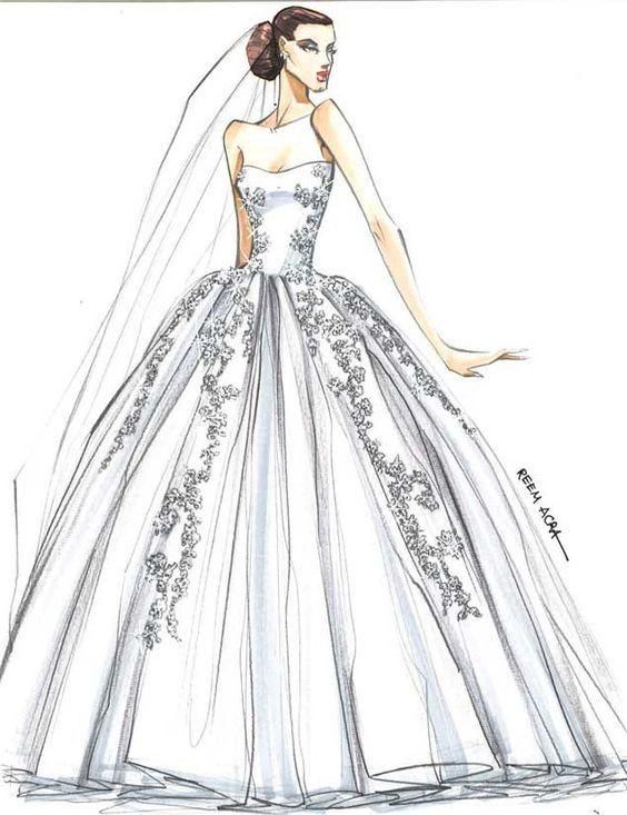 resultado de imagen de dibujos de vestidos de novia | vestido
