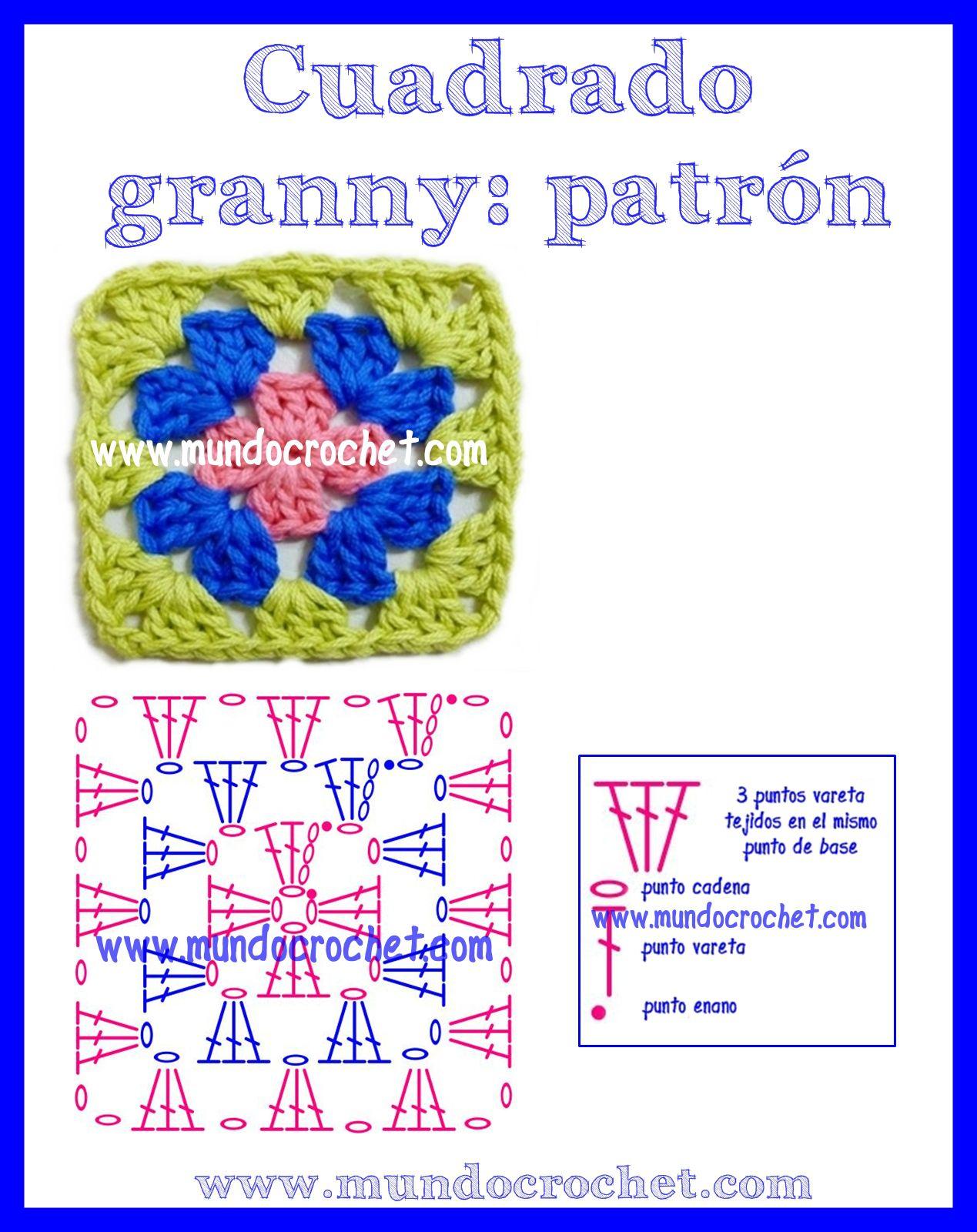 Como tejer un cuadrado granny a Crochet | GRANNIES | Pinterest ...