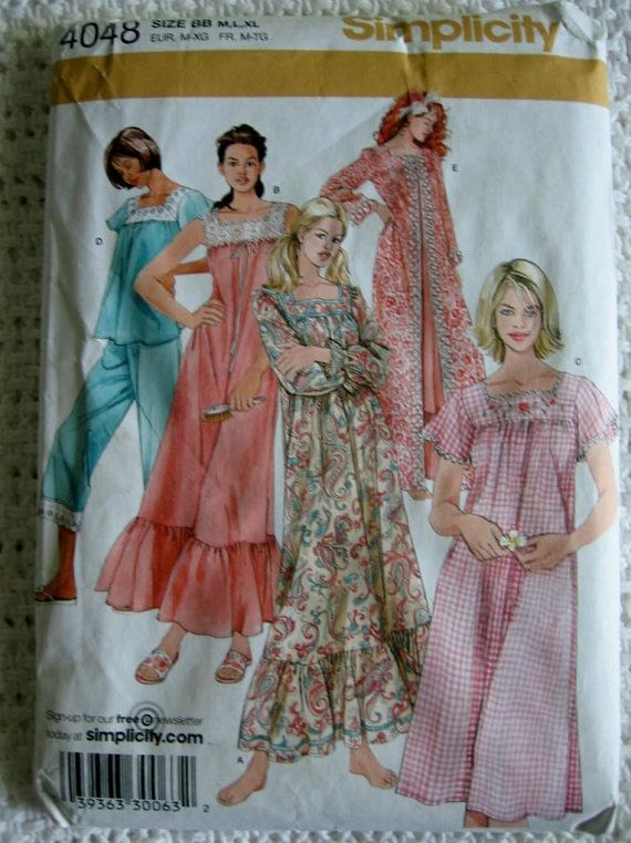 8becec528f Simplicity Misses Womens Pajamas Robe Pants Top Gown Pattern 4048 UC ...
