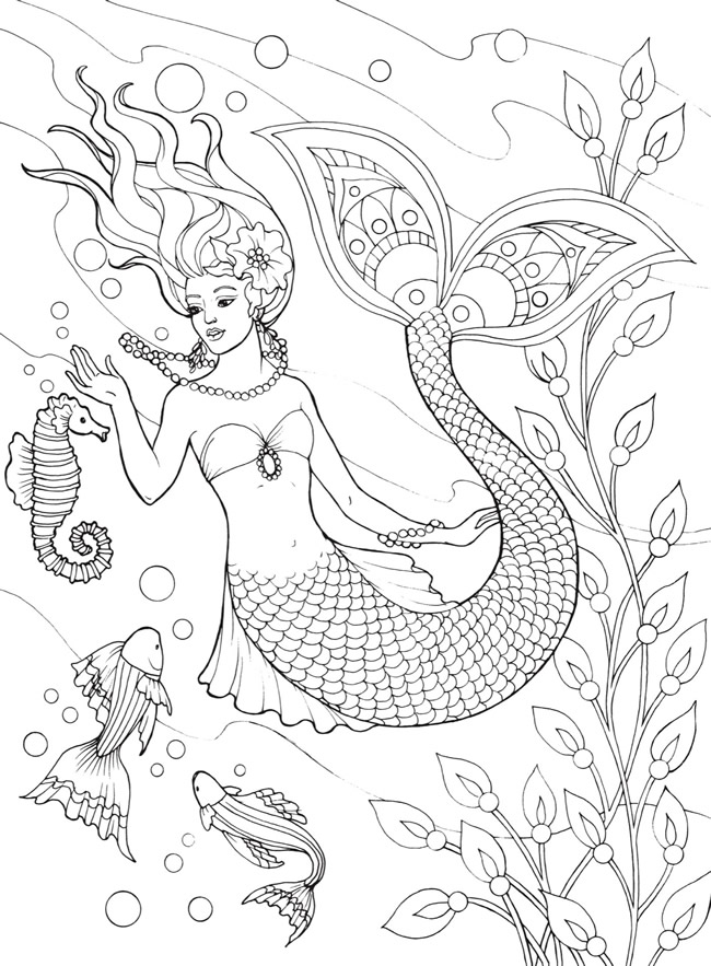 Hard Mermaid Coloring Pages for Adults - 2yamaha.com | 883x650