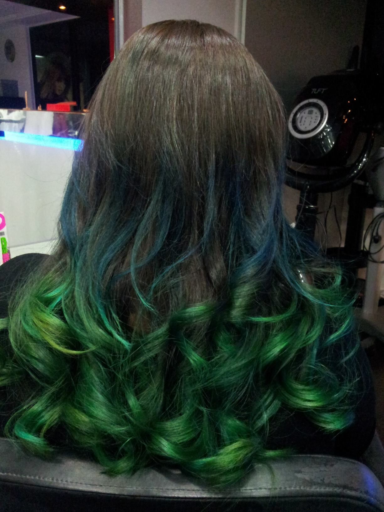 Ash Blonde With Blue Highlights Brown Base And Green Dip Dye With