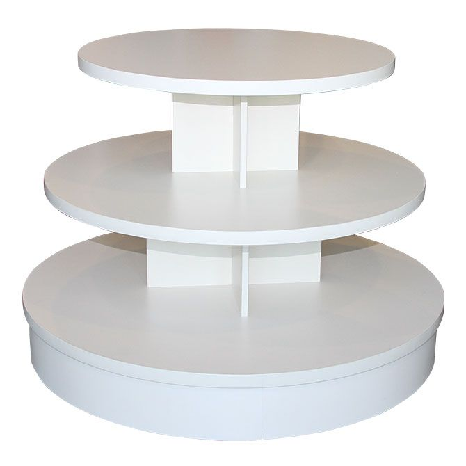 3 Tier White Melamine Round Table Retail Display Tables Retail Display Store Fixtures Display Shelves