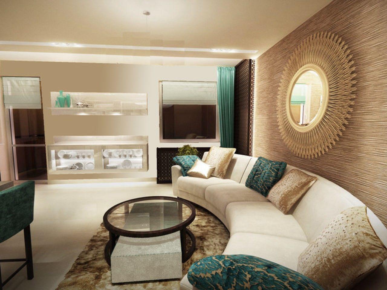 Living Room: Stunning Minimalist Peach And Turquoise Living Room ...