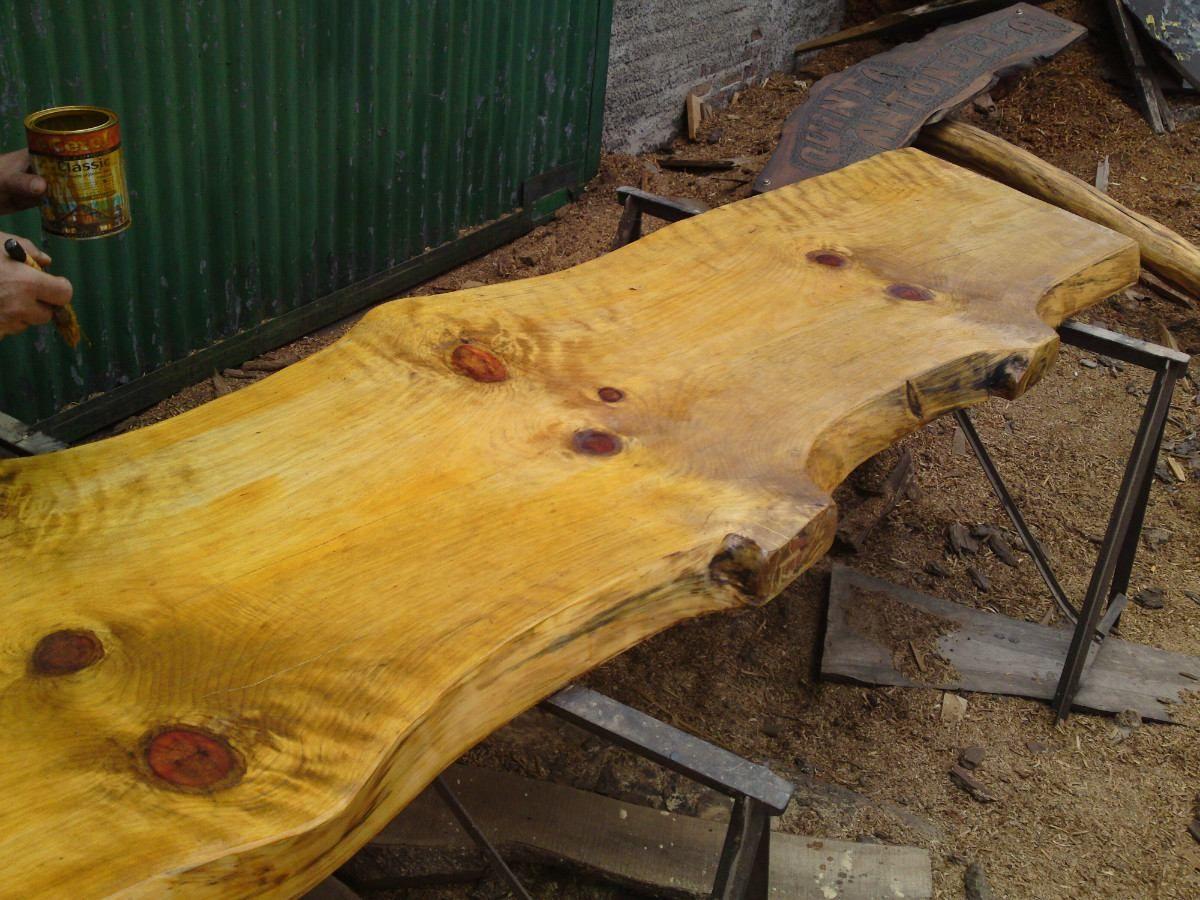 Barras de madera rusticas unicas una sola pieza 50cm ancho for Butacas para barras en madera