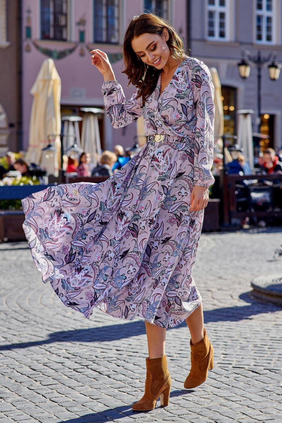 Midi Sukienka Z Kopertowym Dekoltem Boho Lel286 Midi Dress Dresses Beautiful Dresses